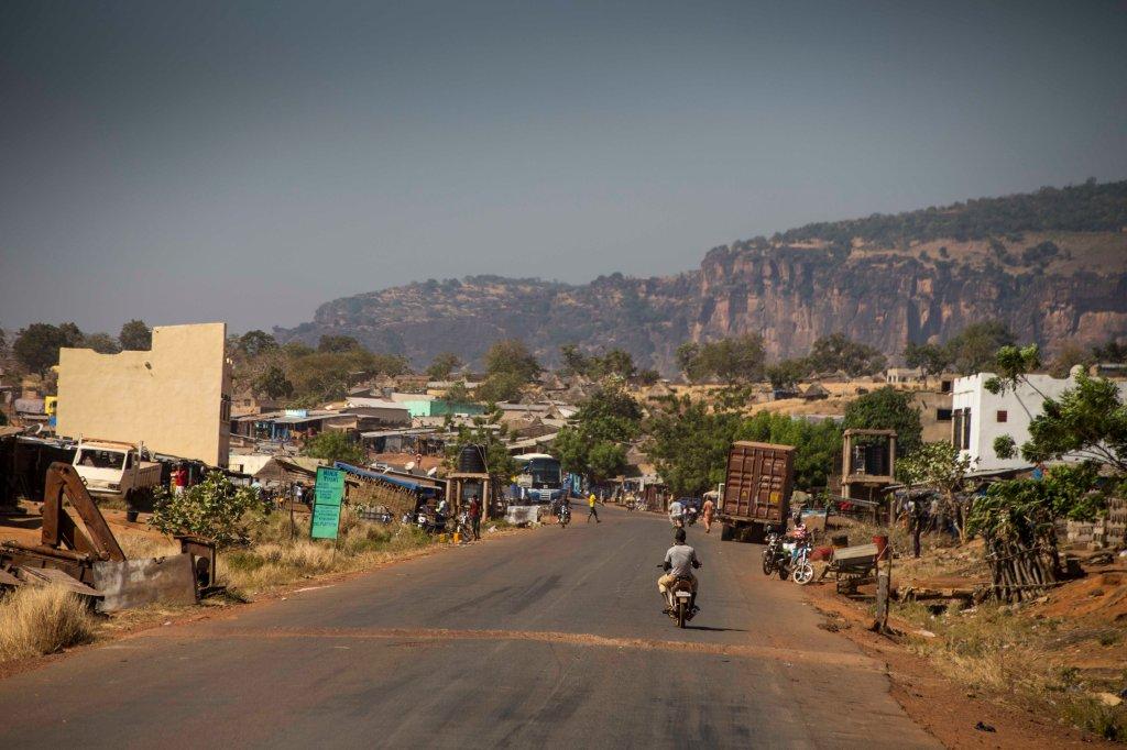 Town under impressive cliffs