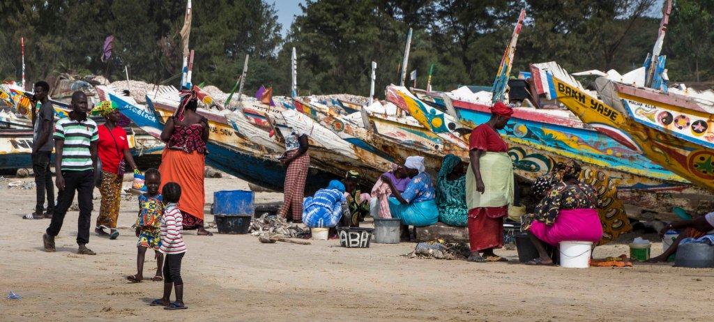 Ladies sorting and preparing fish